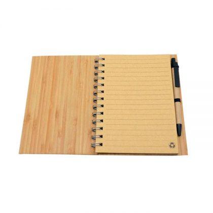 Libreta ecológica de Bambú abierta