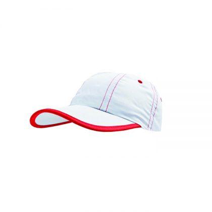 Gorra de microfibra con detalle en rojo
