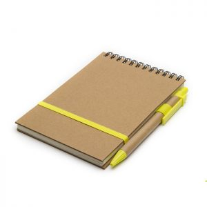 Anotador ecológico con detalle amarillo