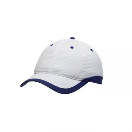 Gorra de microfibra blanca con detalle azul