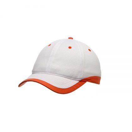Gorra de microfibra blanca con detalle naranja