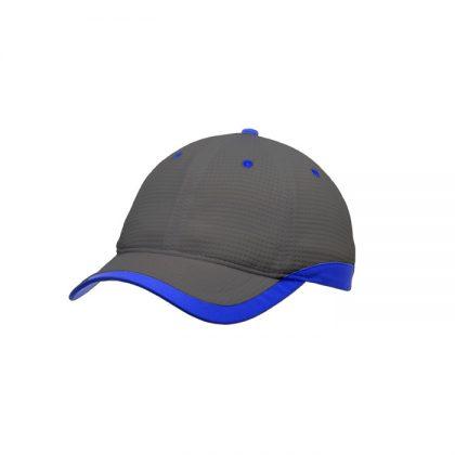 Gorra de microfibra gris con detalle azul