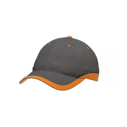 Gorra de microfibra gris con detalle naranja