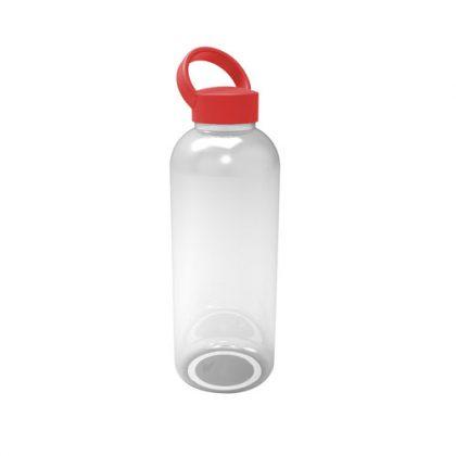 Botella de plástico con tapa roja