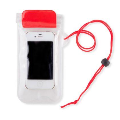Funda impermeable para celular con detalles en rojo