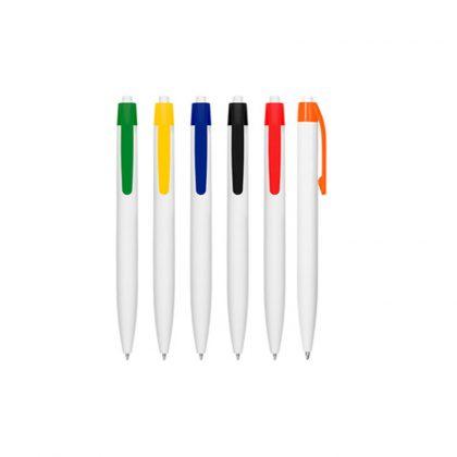 Bolígrafo plástico blanco clip colores