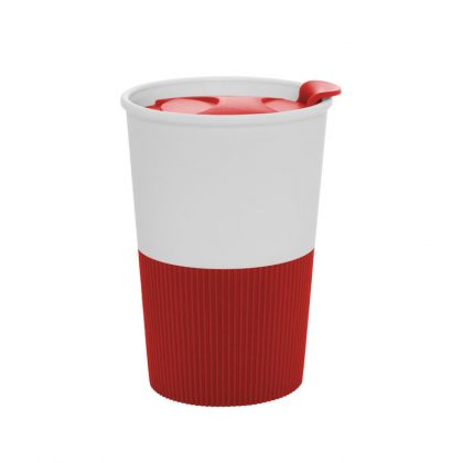 Vaso térmico de plástico rojo