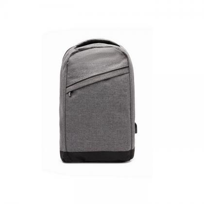 mochila duomo gris con cierres metalicos frente