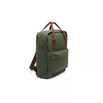 mochilas thelma verde con tiras marrones costado