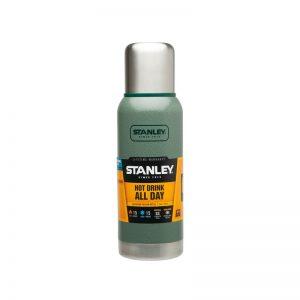 Termo Stanley verde sin manija con etiqueta